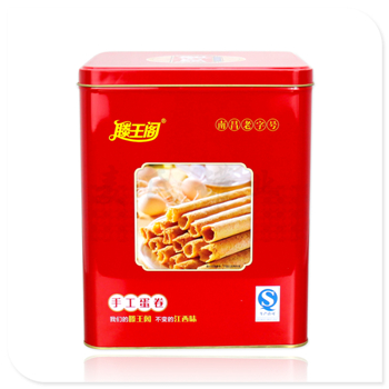 蛋卷竞博jbo亚洲第一电竞平台 正方形曲奇饼干盒 450g蛋卷竞博jbo亚洲第一电竞平台罐定制